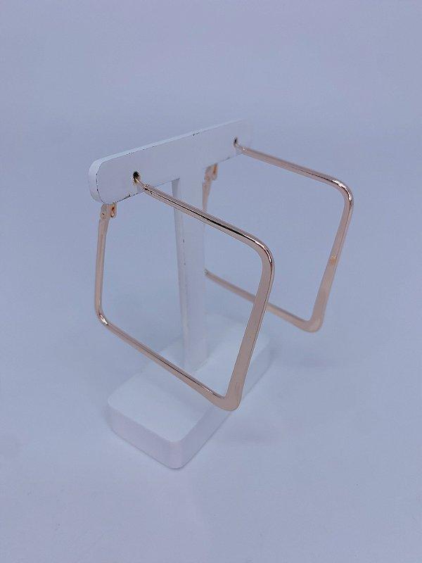 Brinco argola quadrada - dourado, rosê ou prata