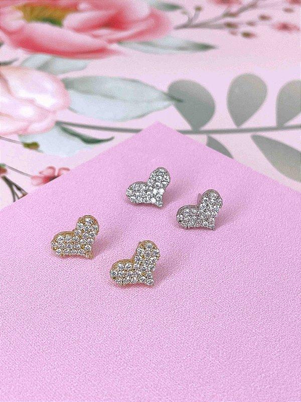 Brinco coração strass - prata ou dourado