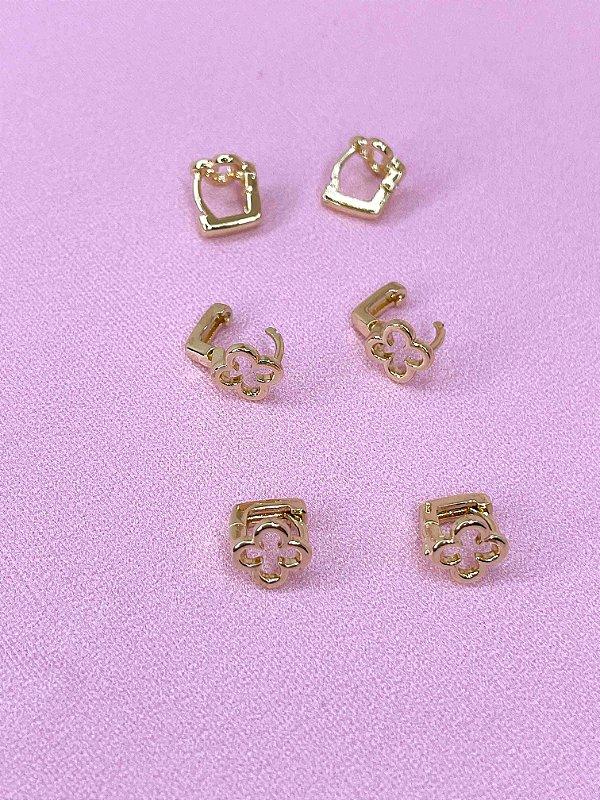 Brinco trio argolinha flor - dourado ou prata