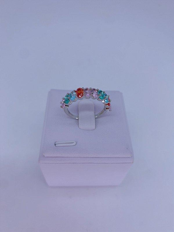 Anel prata com pedrinhas-branco,rosa claro,verde tiffany,preto ou colorido