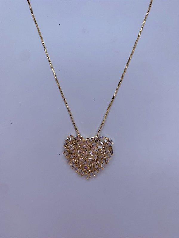 Colar de coração em zircônia - dourado ou ônix