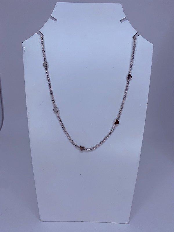 Colar chocker prata com corção e zircônia - branco ou colorido