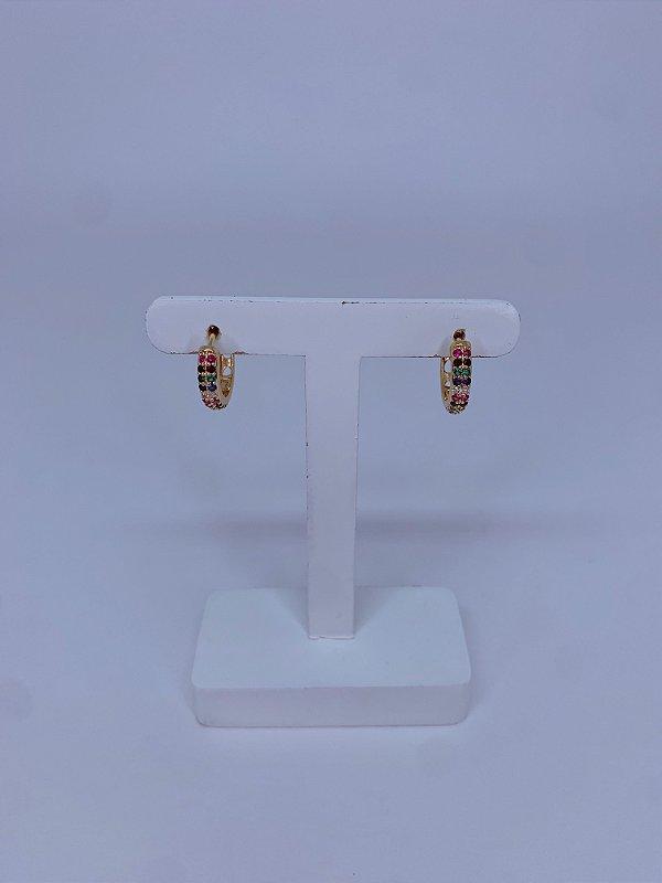 Brinco argolinha metal prata ou dourado com strass - branco ou colorido