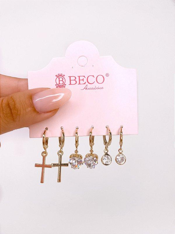 Kit de argolinhas com cruz, pedra e coração - prata ou dourado