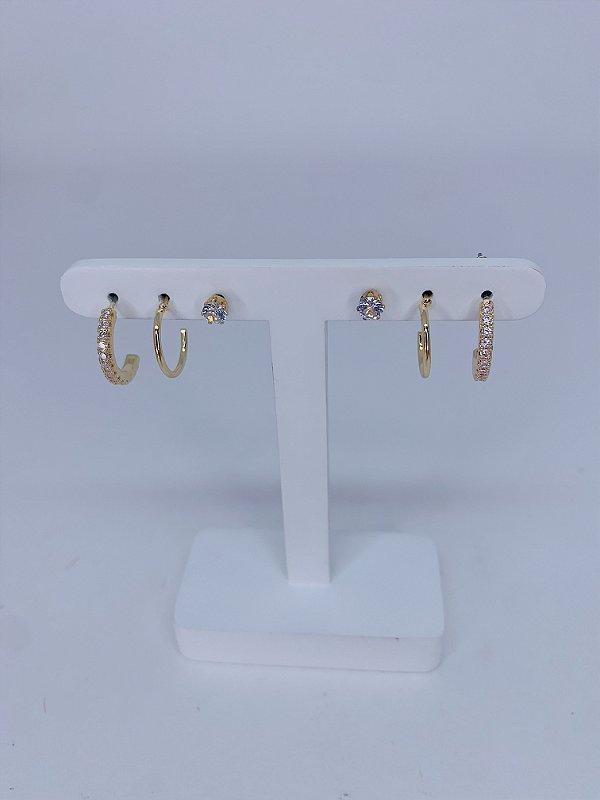 Kit de argolinhas e pedra - prata ou dourado