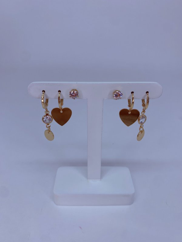 Kit de argolinhas coração e pedra - prata ou dourado