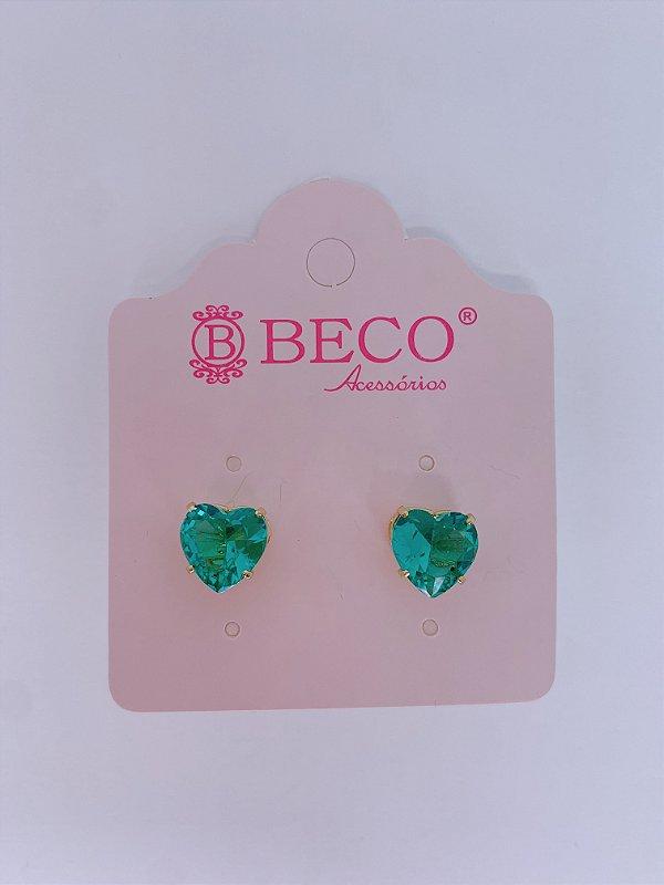 Brinco dourado de pedra em formato coração - rosa claro, rosa, roxo, rosê, azul ou verde tiffany