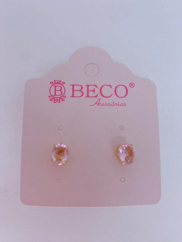 Brinco dourado de pedra em formato oval-rosa claro,roxo,rosê,azul,amarelo ou verde tiffany