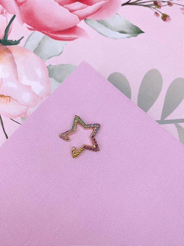 Piercing Fake dourado ou prata de estrela  com strass - branco ou colorido