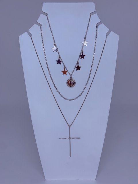 Mix colar de estrelas, medalha e cruz - prata
