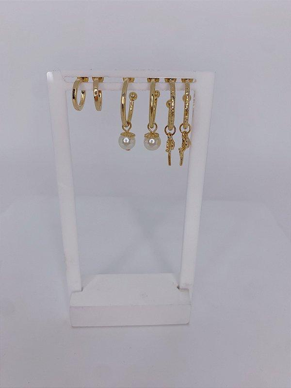 Kit argolinhas, fé e pérola - prata ou dourado