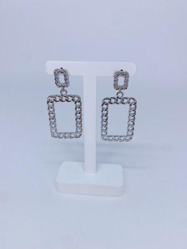 Brinco quadrado de elos - prata ou dourado
