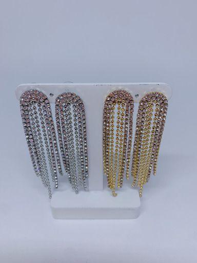 Brinco franja de strass e bolinhas -prata ou dourado