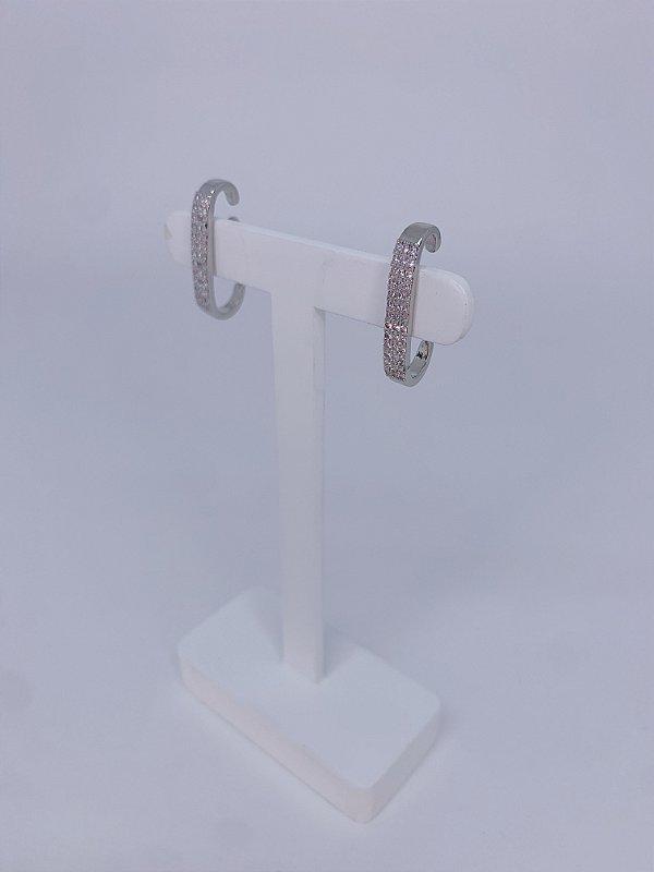 Brinco Ear Hook fino com strass - prata ou dourado
