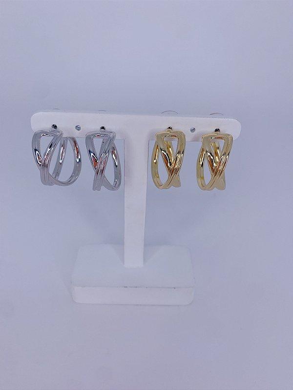 Brinco argola trançada vazada - prata ou dourado