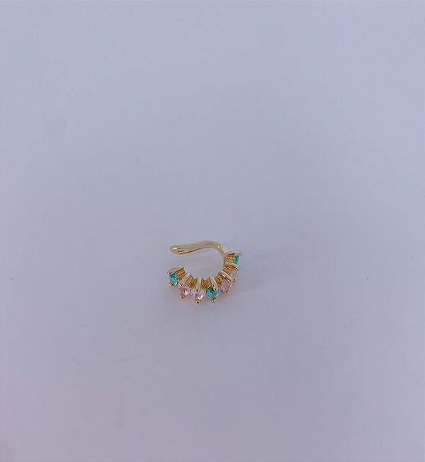Piercing Fake dourado com pedrinhas-verde,branco ou colorido