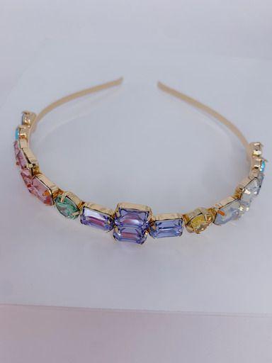 Tiara dourada de pedras coloridas- cor 01
