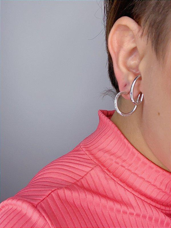 Brinco Ear Hook - prata ou dourado