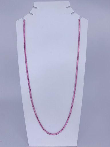 Colar longuinho elos quadrados - rosa claro