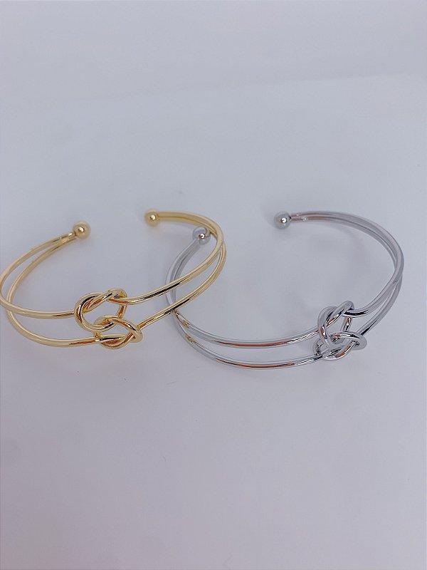 Pulseira bracelete vazado com 2 nós-prata ou dourado