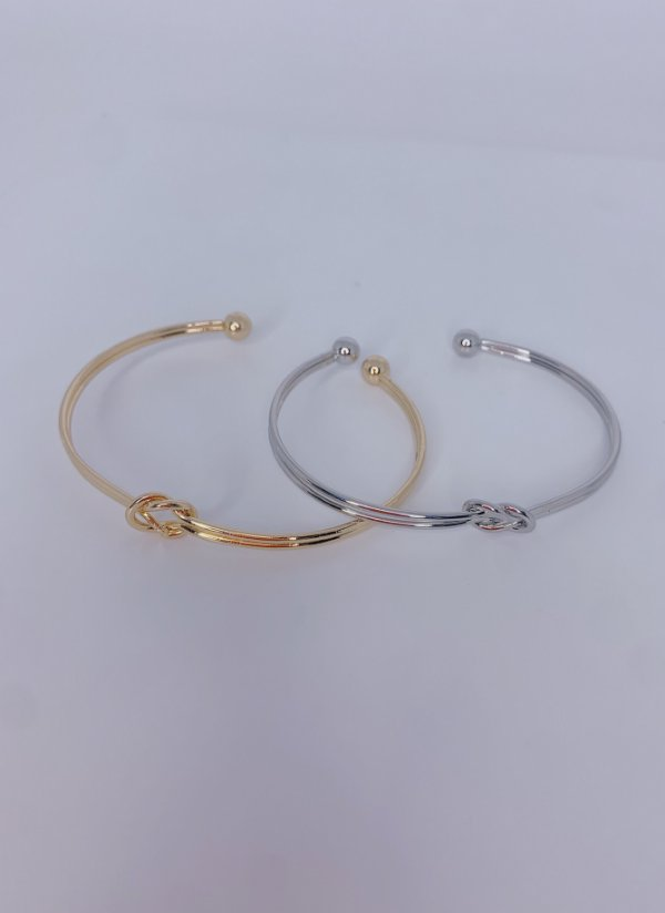 Pulseira bracelete vazado com um nó-prata ou dourado