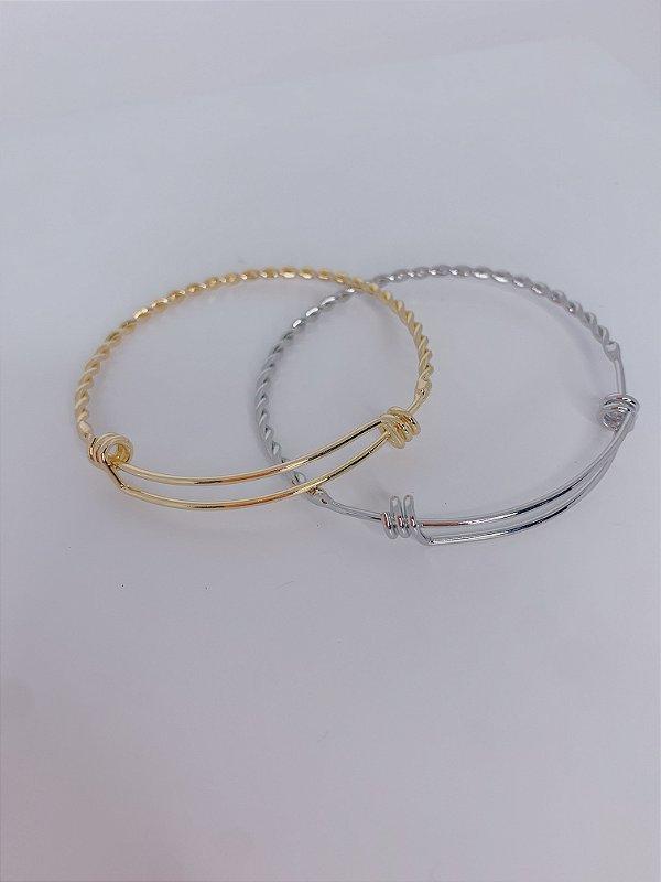 Pulseira bracelete trançado com 2 nós-prata ou dourada