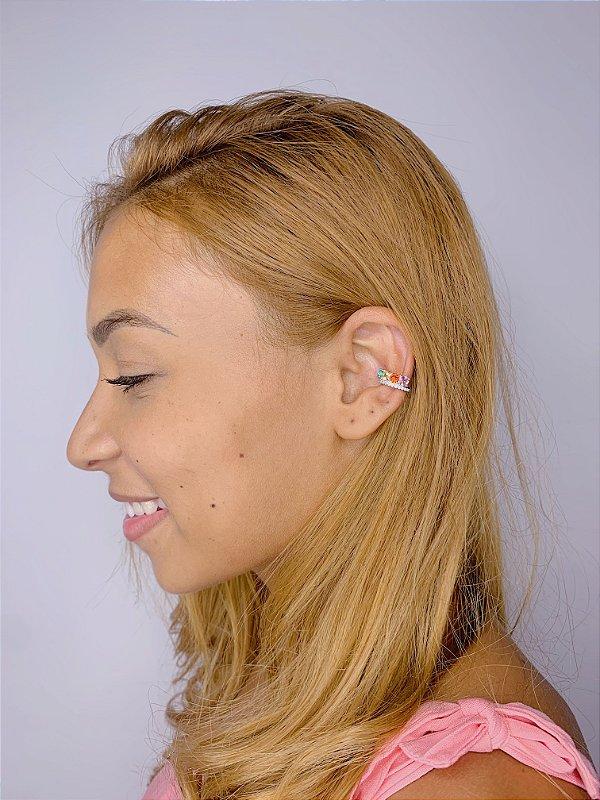 Piercing prata com strass e pedra-colorido ou branco