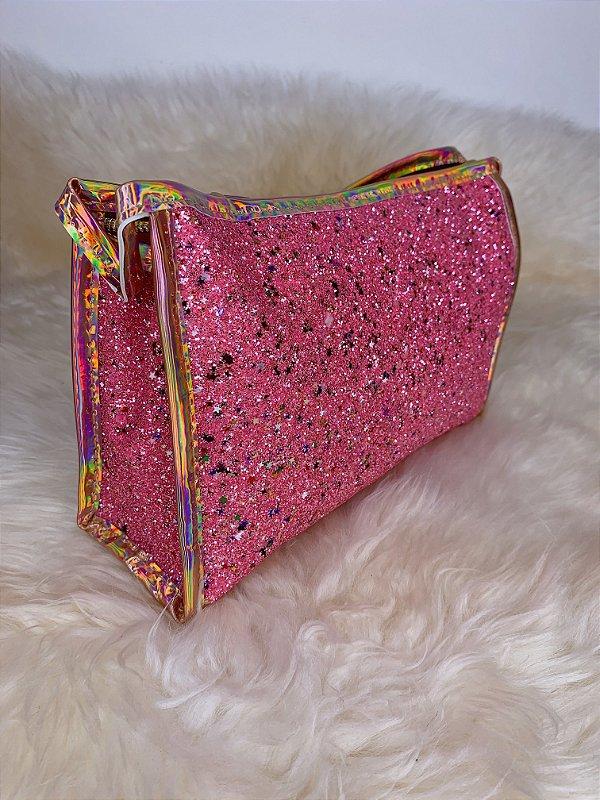 Necessaire com glitter  e mini estrelinhas - rosa
