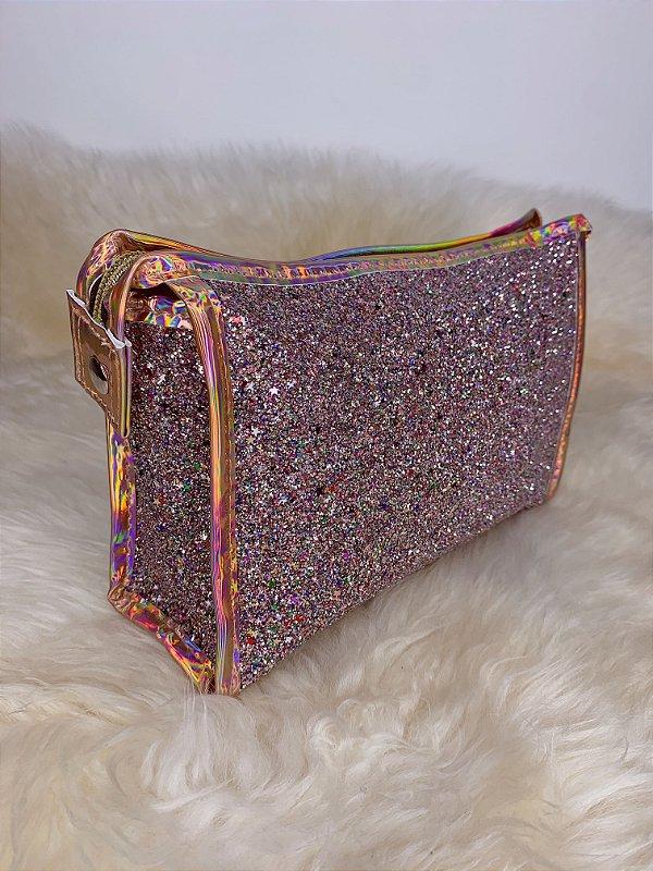 Necessaire com glitter  e mini estrelinhas-COLORIDA
