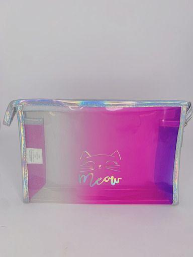 Nécessaire gatinho rosa com transparência