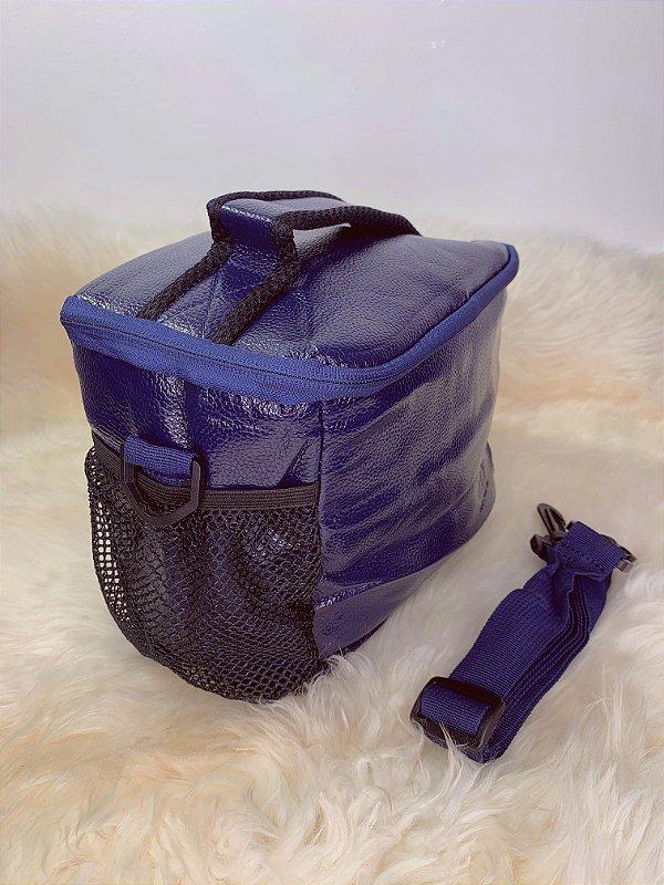 Necessaire térmica,com bolso de tela na lateral e alça ajustável - azul escuro