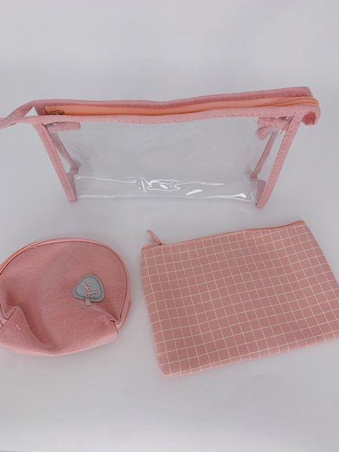 Kit nécessaire listras - rosa claro