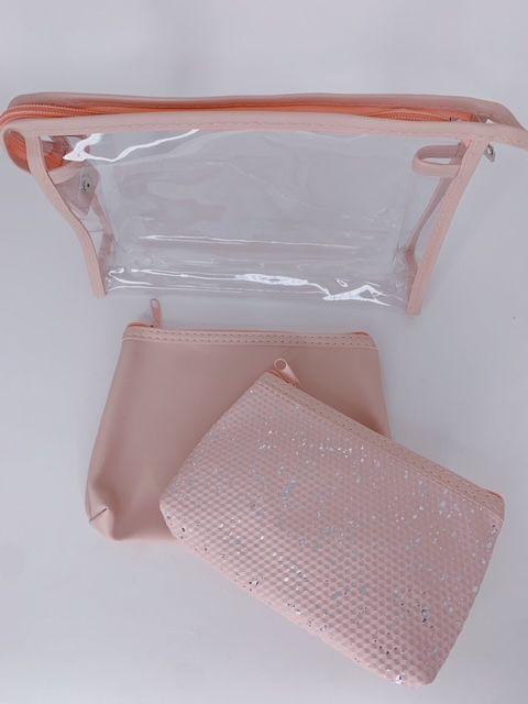 Kit nécessaires com brilho - rosa claro