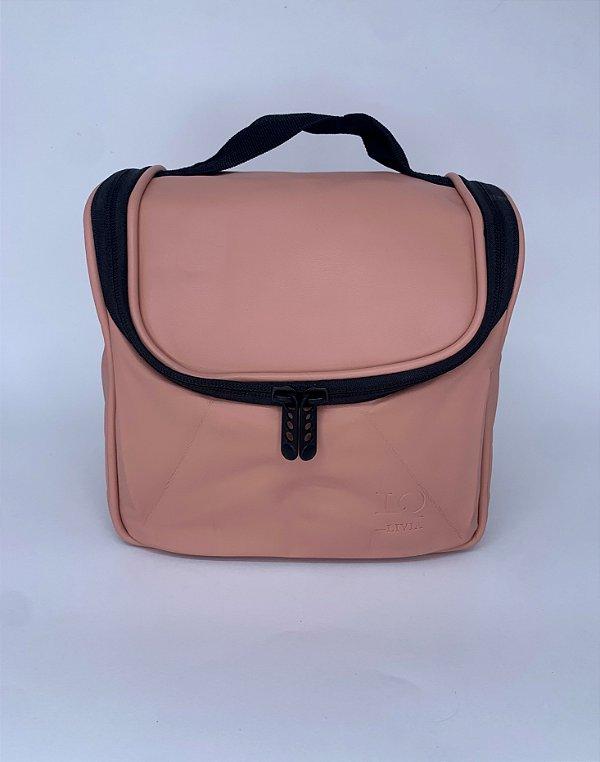 Necessaire térmica courino rosa claro com alça ajustável
