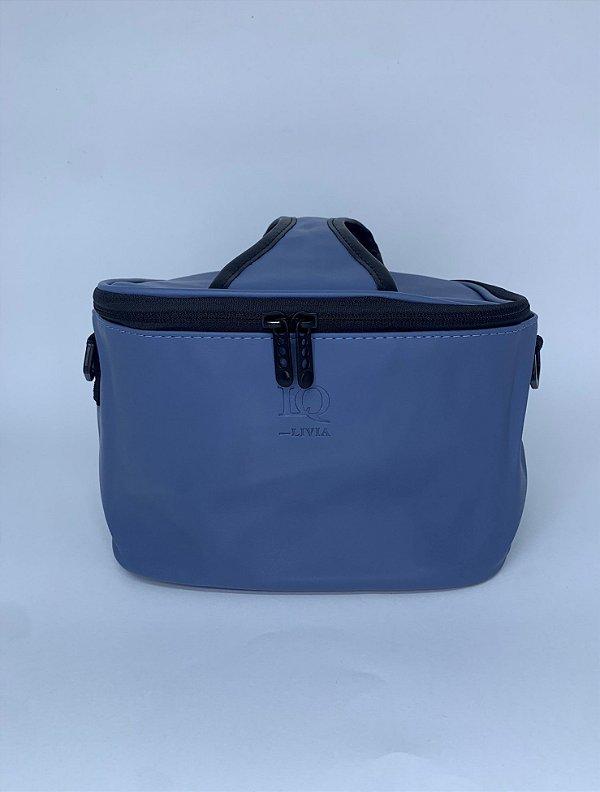 Necessaire térmica quadrada courino azul  com alça ajustável