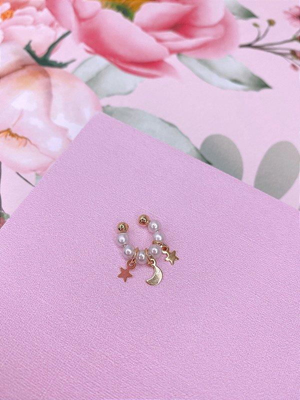 Piercing fake com pérolas, estrela e lua-prata ou dourado