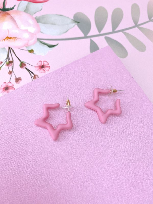 Brinco acrílico em formato de estrela - azul, lilás, rosa, amarelo ou verde