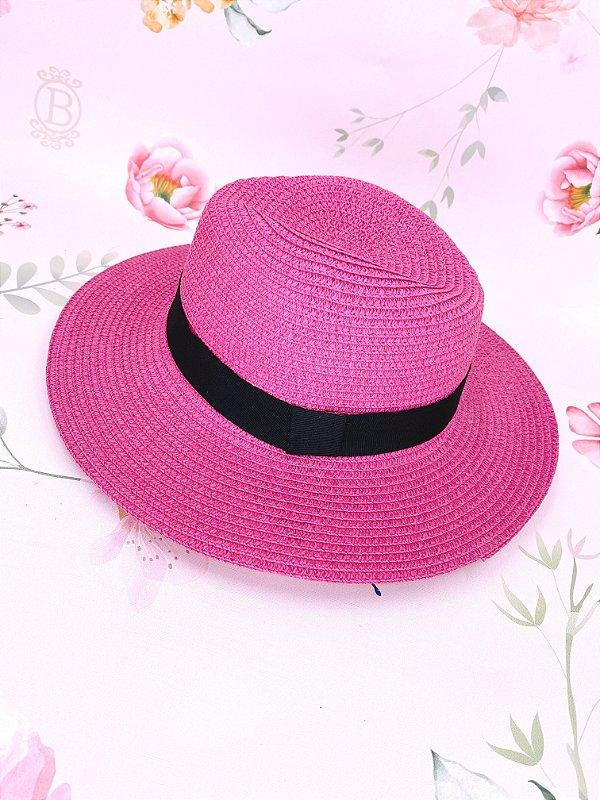 Chapéu Panamá de palha sintética - Rosa