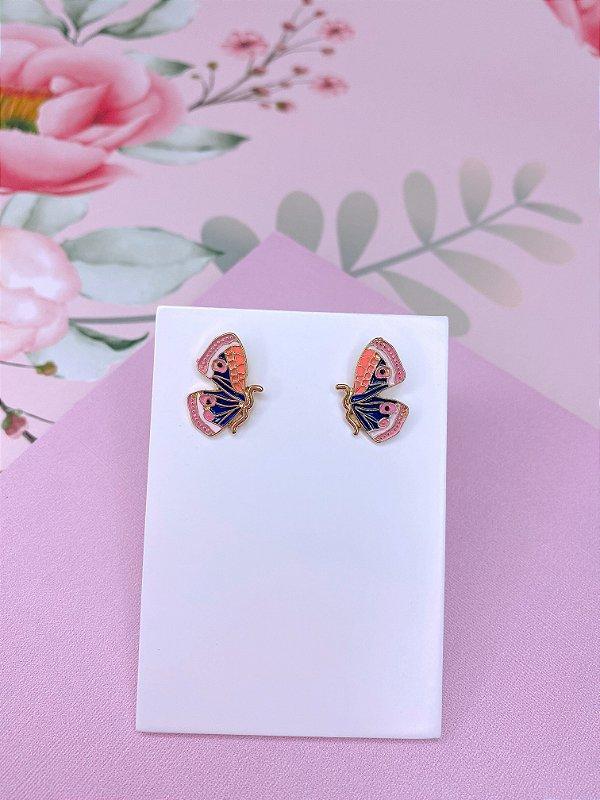 Brinco mini borboleta esmaltada - azul marinho