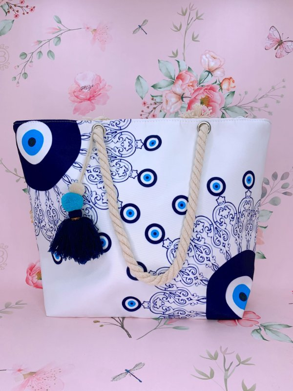 Bolsa de praia  com Mandala e Olho Grego azul