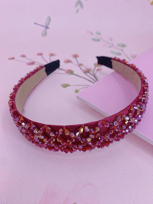 Arco grosso com miçangas - preto, rosa, bege, bordô, colorido ou azul