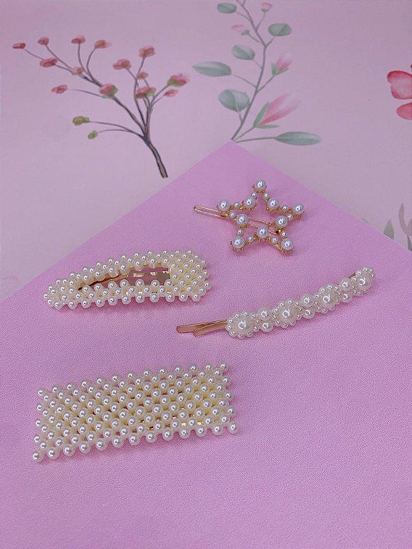 Kit dourado com presilha, grampo e tic-tac com pérolas e estrela