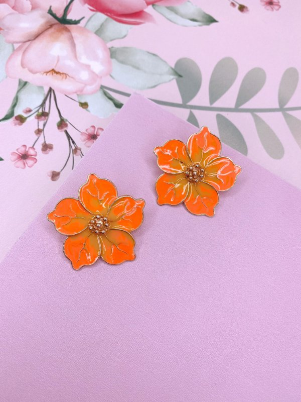 Brinco de Flor esmaltado mesclado amarelo com laranja