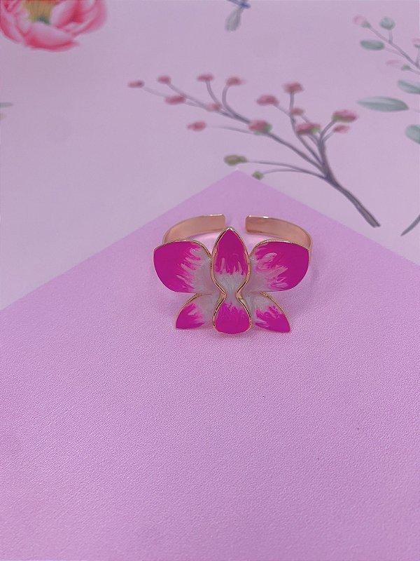 Bracelete dourado com Flor Borboleta esmaltada mesclado em rosa