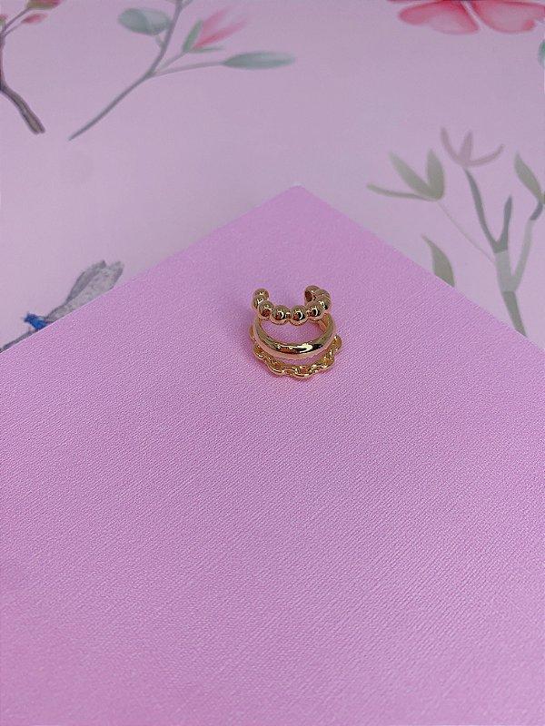 Piercing Fake dourado em esfera e mini elos