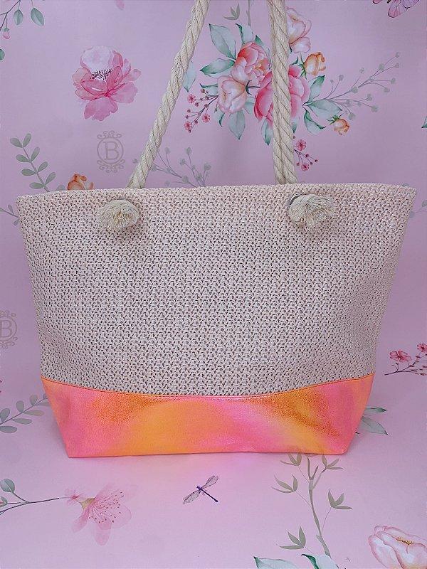 Bolsa de praia bege com detalhe holográfico - verde, pink ou laranja