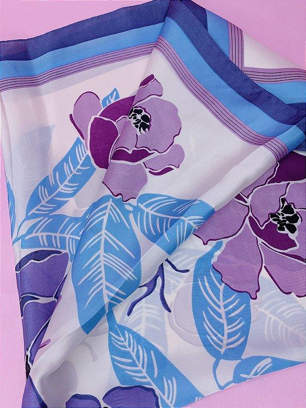 Lenço flor roxa com folhas azuis