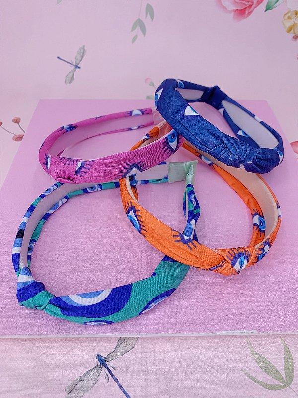 Arco nó tecido de olho grego - azul, verde, rosa e laranja