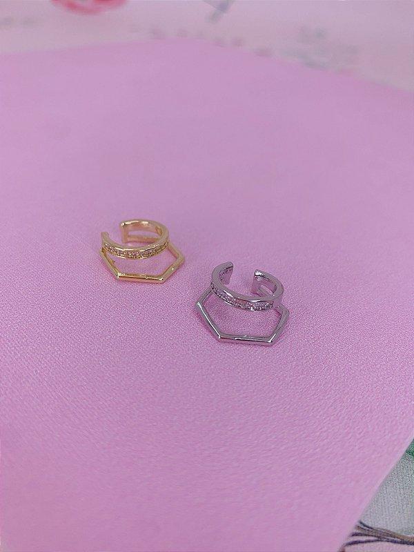 Piercing fake duplo,pentágono liso e strass-prata ou dourado