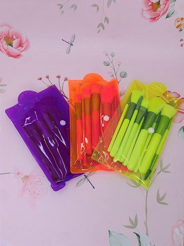 kit de pincéis com 10 peças- verde neon, roxo ou laranja